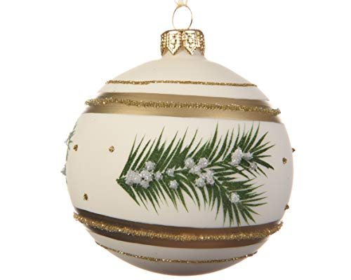 Luxury Pine Fir Branch Round Glass Christmas Tree Bauble Decoration with Glitter Detail - Champagne Gold and Green - 8cm (Hanging Baubles Glass)