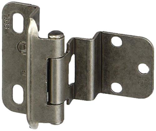 (Amerock BPR7565WN 3/8in (10 mm) Inset Self-Closing, Partial Wrap Weathered Nickel Hinge - 2 Pack)