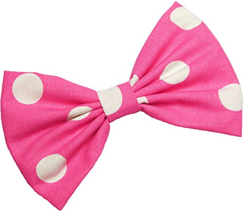 Hot Pink with White Polkadots Hair Bow Clip Minnie Mouse Inspired Hair Accessory Handmade by Sweet in the City
