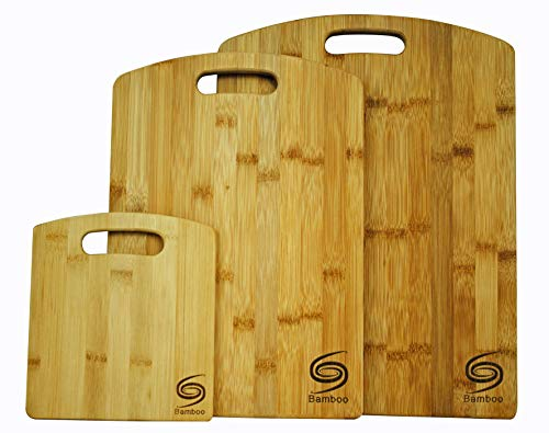 (Organic Premium Bamboo Cutting Board- set of 3 Eco-Friendly truly durable Chopping Boards for all food needs Every Kitchen must have Grand Sierra Designs)