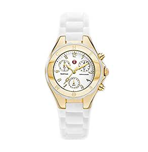Michele Woman's MWW12D000011 Tahitian Jelly Bean Gold Plate White Watch
