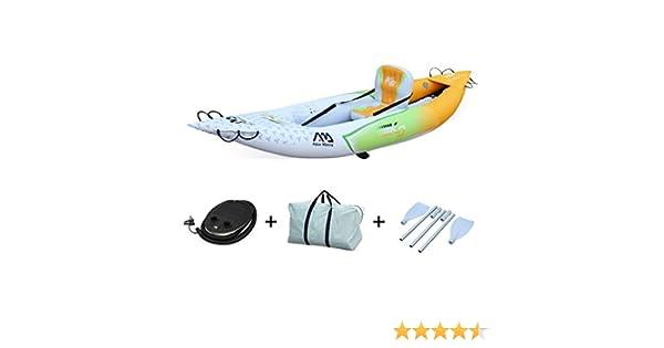 Alices Garden - Canoe kayak Betta K0 hinchable monoplaza con inflador, remos, mochila de transporte