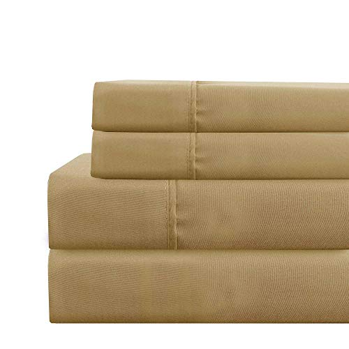 (Amrapur Overseas Deep-Pocket Ultra-Soft Solid 3-Piece Sheet Set, Twin, Gold)