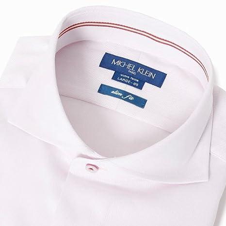 a8ebc58aaa8737 Amazon | MICHEL KLEIN PARIS パネルストライプカッタウェイシャツ【ピンク/L(41-85)】 | シャツ 通販