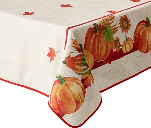 Crocheted Pumpkin - HomeCrate European Fall Harvest Tablecloth Printed Autumn Leaves and Pumpkins 60
