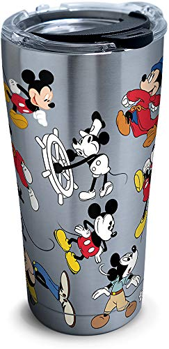 Tervis 1297811 Disney - Mickey Mouse 90th Birthday Stainless Steel Insulated Tumbler with Clear and Black Hammer Lid, 20oz, ()