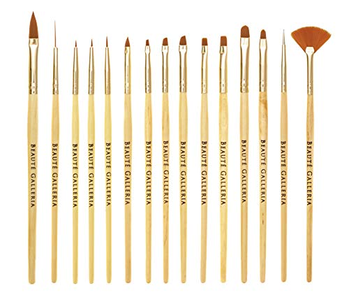 Beaute Galleria 15 Pieces Nail Art Brush Set for Detailing, Striping, Blending, One-Stroke Nail Art with Gel Brushes, Painting Brushes, 3D Brush, Dotting Tool, Fan Brush and Liner ()