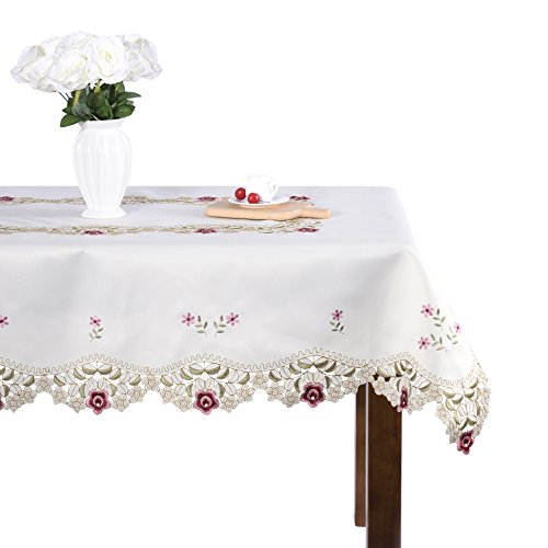 Damask Rose Camellia Embroidered Cream Floral Tablecloth Rectangular 53 x 78 inch Approx (Floral Cream Pink)