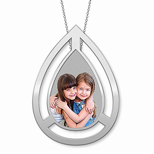 Photo Engraved Floating Teardrop Pendant - 1 x 1-1/4 inch - 14K White Gold