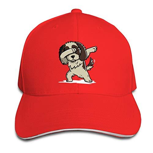 Unisex Dabbing Shih Tzu Cotton Baseball Cap Classic Dad Hat for Mens Womens Red