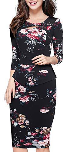 HOMEYEE Women's Elegant Chic Bodycon Formal Dress B288 (10, Black + Floral #1)