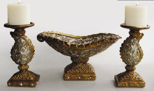 American Atelier Decorative Leaf Candle Holder and Bowl Set (Leaf Pillar Holder)