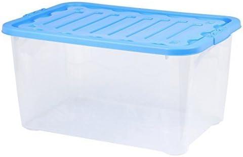 Conjunto de 2 Plástico 51 Litro Cajas Almacenaje grande con tapa ...