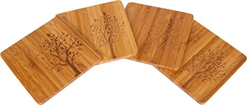 Trademark Innovations Bamboo Coaster Design