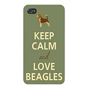 Apple Iphone Custom Case 4 4s White Plastic Snap on - Keep Calm and Love Beagles