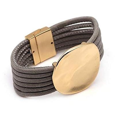 ZUOZUO Leather Wristband Women S Leather Bracelet Women S Wind Round Metal Charm Multilayer Wide Ring Bracelet Women Estimated Price £19.99 -