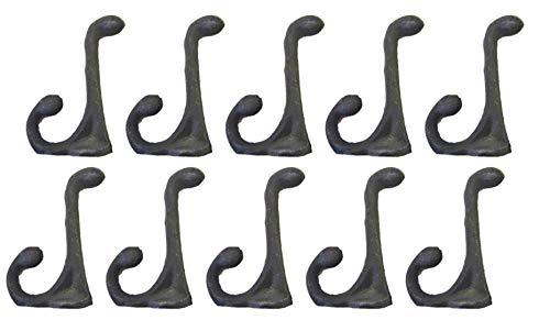 (Midwest Craft House 10 Cast Iron Black School Hat Coat Rack Hall Tree Hooks 3 1/4