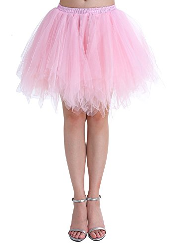 MizHome Womens Pink Plus Size Tutu Skirt Layered Tulle Skirt Adult Halloween Costumes