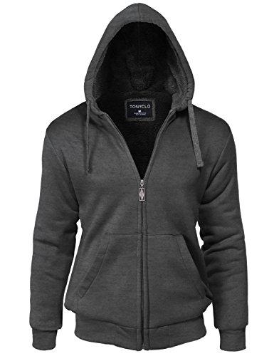 Kangaroo Pocket Warm Fur Inside Zipper Hoodie Jacket, Dark Grey, - Sport Zegna Sale