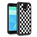Galaxy J3 2018 Case,J3 V 3rd Gen/J3 Star/J3 Achieve/Amp Prime 3 Case,Spsun Dual Layer Hybrid Hard Protector Cover Anti-Drop TPU Bumper for Samsung Galaxy J3 2018,Checkered Flag