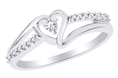 14K White Gold Over Sterling Silver White Round Diamond Fashion Ring (1/10 CTTW) Ring Size-7.5 (Natural 0.10 Cttw)