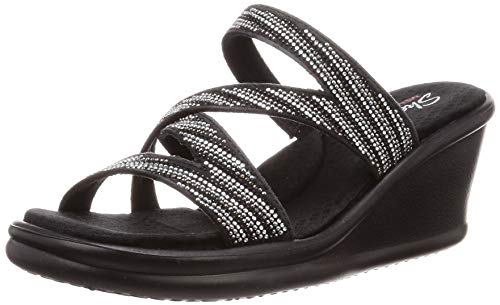 Skechers Women's Rumblers-MEGA Flash-Rhinestone Multi Strap Wedge Slide Sandal, Black/Silver, 10 M US
