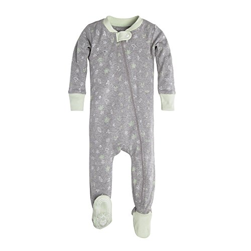 Burt's Bees Baby Unisex Baby Infant Soft Organic GOTS Certified Zip Front Non-Slip Footed Sleeper Pajamas, Desert Terrain, 12 Months