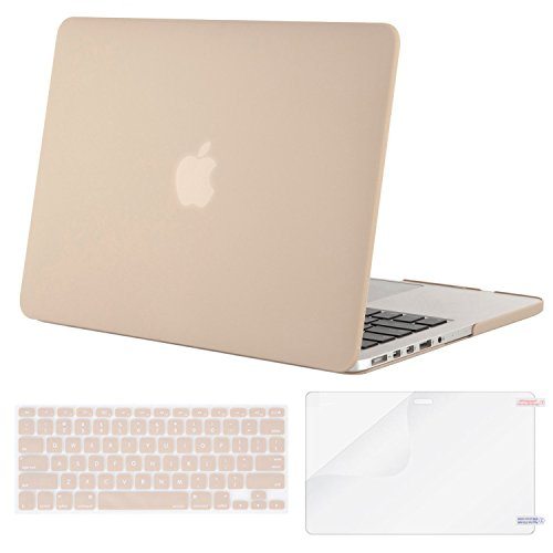 MOSISO Case Only Compatible MacBook Pro (W/O USB-C) Retina 13 Inch (A1502/A1425)(W/O CD-ROM) Release 2015/2014/2013/end 2012 Plastic Hard Shell & Keyboard Cover & Screen Protector, Camel