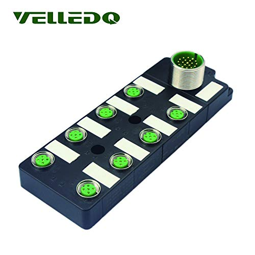 VELLEDQ Industrial M12 Sensor Distribution Box,M23 19-Pin Male Input,8 Ports M12 4-Pin Female Output,I/O Modular Fieldbus Junction Block Systems
