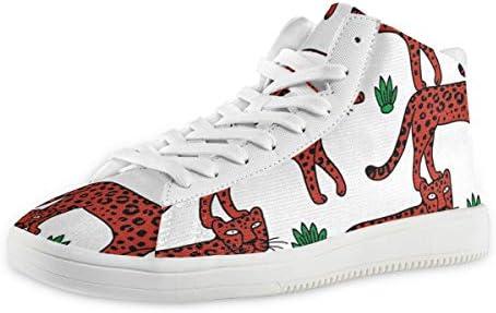 メンズ 豹 赤い 豹柄 スケートボードシューズ ミッドカット 日常着用 ハイカット レースアップ スニーカー カジュアル ドレスシューズ ハイトップ ショートブーツ デッキシューズ 運動靴