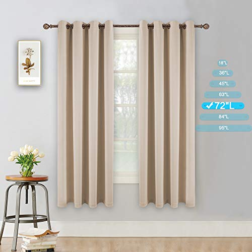 YGO Insulated Thermal Blackout 72 Inch Long Beige Curtain Panels Pair Nickel Grommet Window Drapes for Bedroom Living Room Beige Set of - Polyester Curtains Pair Thermal Insulated