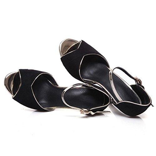COOLCEPT Mujer Moda Al Tobillo Sandalias Peep Toe Tacon de Aguja Zapatos Negro