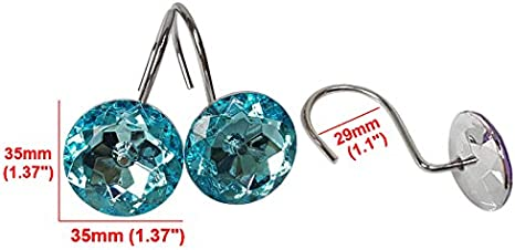 Red Grace life Set of 12 Rhinestone Decoration Stainless Steel Ring Shower Curtain Hook Multi Color Options Crystal Design Shower Curtain Hooks Hangers