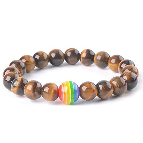 SL SweetLove Brown Tiger Eye Stretch LGBT Rainbow Bracelet Beaded Bracelet 10mm Round Beads 7