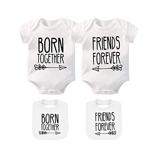 Twin Set Shirt - YSCULBUTOL Baby Twins Clothes Best Friends Forever Baby Bodysuit Set Friends Inspired Matching Twins Outfits (White, 0-3 Months)