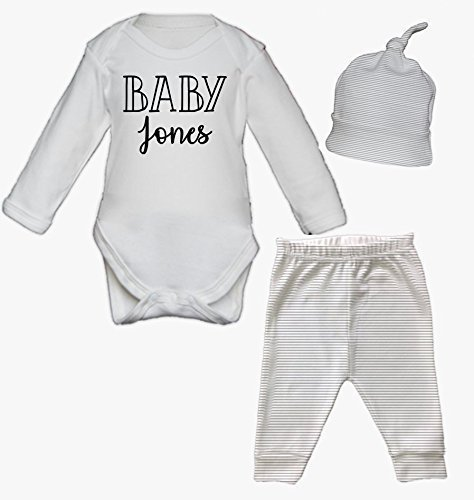 Personalised Baby Surname Baby Vest Pants and Hat Set Babygrow New Baby Gifts Newborn baby Gifts Personalised Babywear Hospital Outfit Newborn New Baby