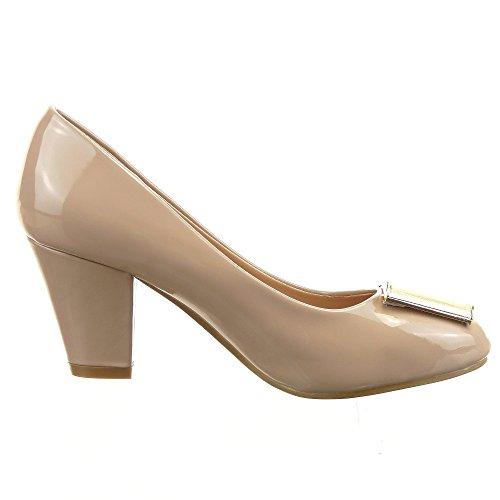 Sopily - damen Mode Schuhe Pumpe Dekollete Stiletto Offen Dekollete glänzende Schleife - Khaki