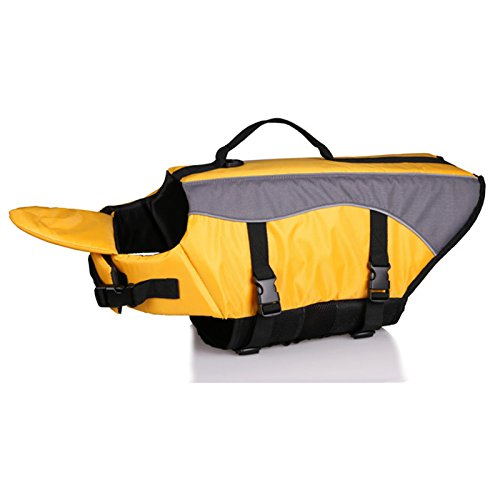 OCSOSO Life Jackets for Dogs Reflective Pet Preserver Aquatic Safety Vest waterproof swimwear(Yellow XS).