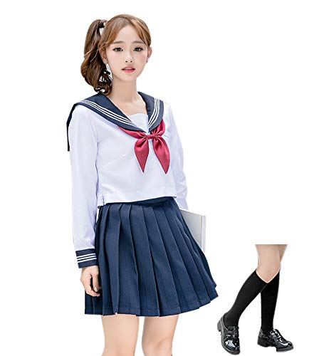 ROLECOS Japanese School Girl Uniform Anime Sailor Suit Lolita School Uniform Long Sleeve 6