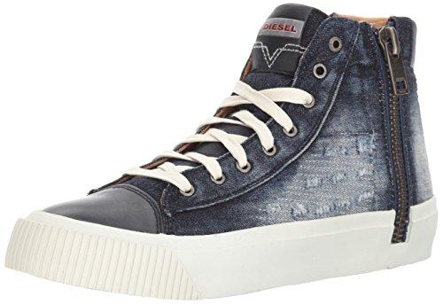 Diesel Men's Zip-Turf S-Voyage Denim Sneaker, Indigo, 9.5 M US Diesel Indigo Jeans
