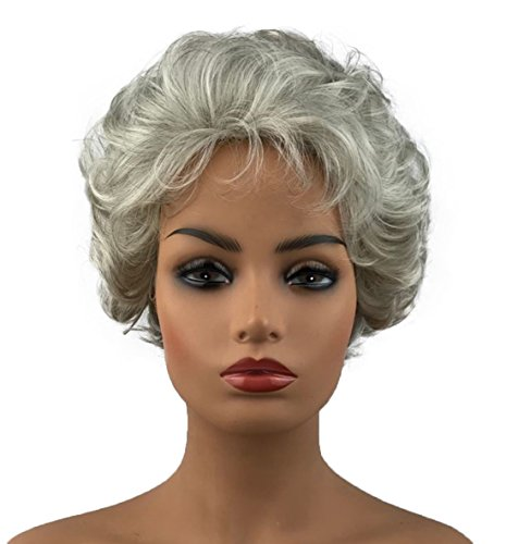 Wiginway Women Lady Mommy Grandmother Short Curly Wigs Gray White Layered Elegant Wig Hairpieces 6 Inch