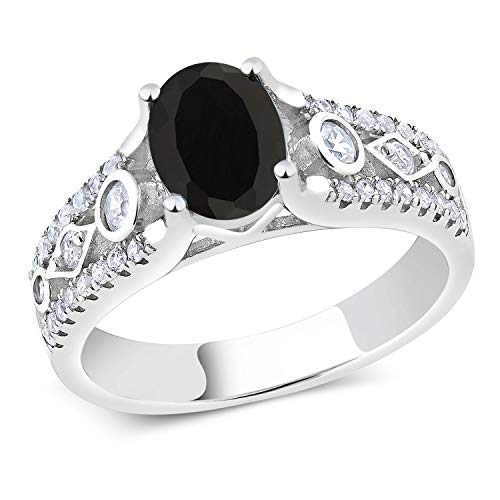 Gem Stone King Sterling Silver Black Onyx Women's Engagement Ring 1.81 cttw Gemstone Birthstone (Available 5,6,7,8,9) (Size 5)