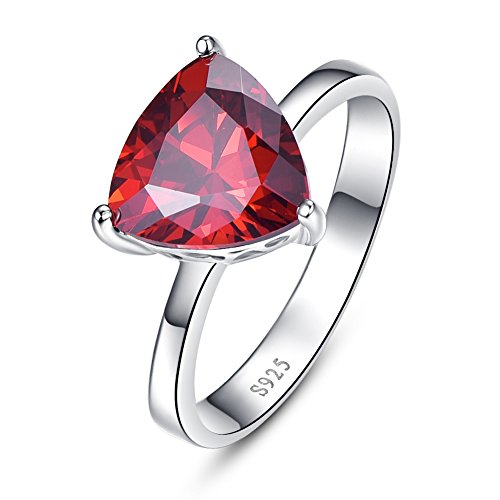 BONLAVIE Women's 6.15ct 925 Sterling Silver Triangle Shaped Red Cubic Zirconia Birthstone Engagement Ring (6) 3 Stone Triangle Ring