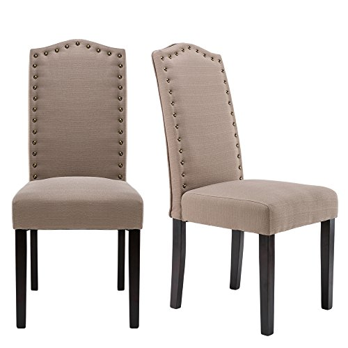 NOBPEINT Upholstered Dining Room Chair Set with Copper Nailhead Trims, Arched Backrest Armless Design Padded Cushion,Set of 2(Taupe) Review