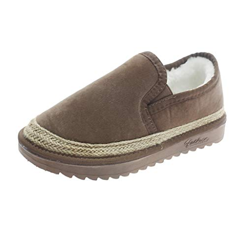 LONGDAY ⭐ Loafer Moccasins Slippers Slippers Casual Comfort Slip On | Lightweight Winter Flat with Fur or Travel Shoes Brown ()