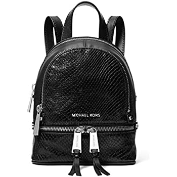 f5082f5c8697b MICHAEL Michael Kors Rhea Mini Python-Embossed Leather Backpack in Black