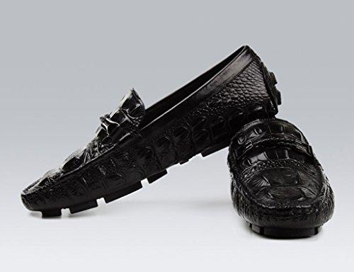 Zapatos Clásicos de Piel para Hombre Zapatos de cuero para hombres Fashion Foot Lounger British Style Leisure Transpirable ( Color : Negro , Tamaño : EU42/UK7.5 ) Negro