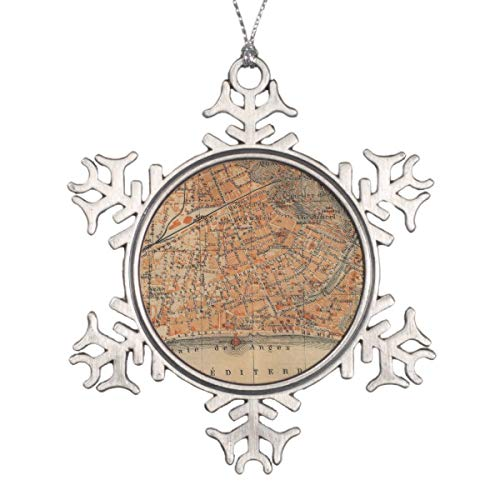 Decorations Personalized Ornament Vintage Map of Nice France Snowflake Pewter Christmas Ornament ()