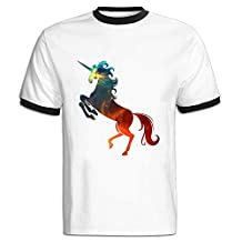 Y1T2FF Men's Unicorn Round Neckline Contrast Color T Shirt Short Sleeve