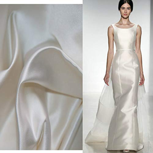BeesClover Bridal Fabrics Silk Duchess Satin Fabric for Wedding Dress Bright White